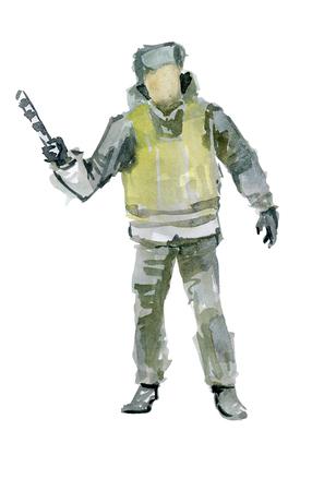 Policeman makes a signal rod 版權商用圖片 - 117705920