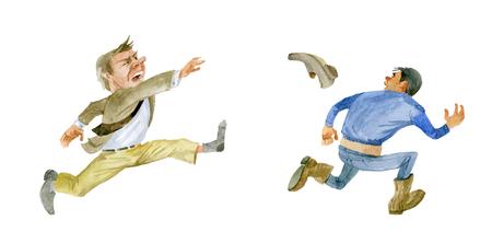 Humor. Angry customer throws Shoe at contractor 版權商用圖片 - 117705921