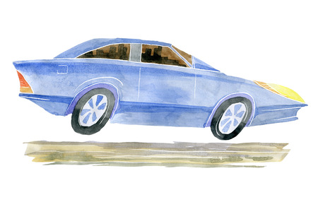 Cartoon car Executive class. Watercolor illustration isolated from the background