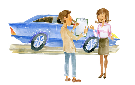 The Manager presents the new model of the car to the journalist. 版權商用圖片 - 117706045