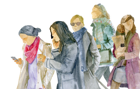 Watercolor sketch. A group of young women in winter clothes goes