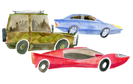 Watercolor illustrations of three cars representing different classes.
