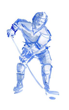 Hockey player in training. Watercolor sketch on white background 版權商用圖片