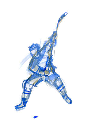Strong blow. Hockey player in training. Watercolor sketch 版權商用圖片