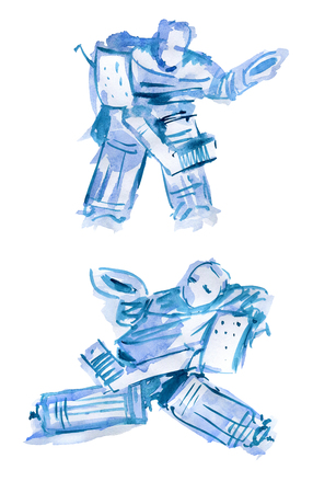 Hockey goalkeeper. Watercolor sketch of two figures on a white background 版權商用圖片 - 117706058