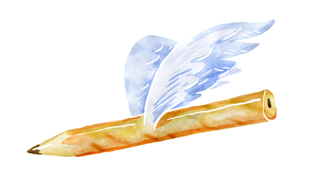Pencil with wings. Watercolor isolated from the background 版權商用圖片