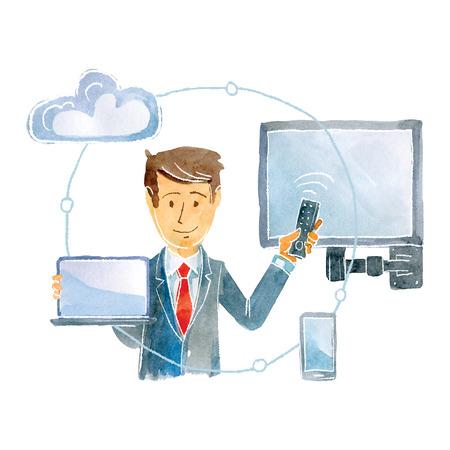 The representative of the provider company represents the possibilities of the service. 版權商用圖片 - 117705990