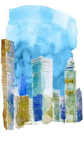 View of the modern city. Watercolor painting