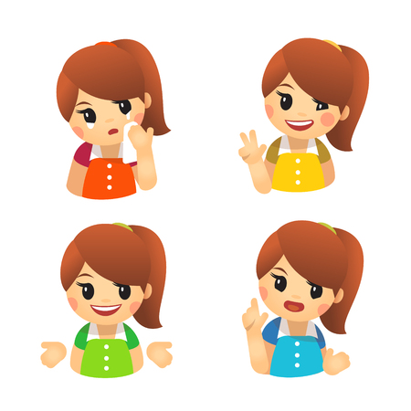 Emoji with girlish emotions. Sadness, cheerfulness, victory, disapproval