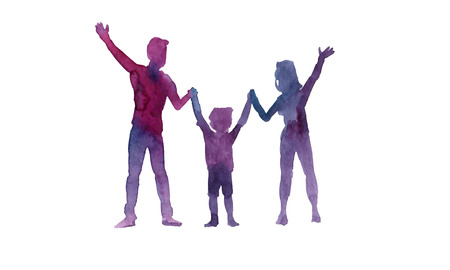Watercolor silhouettes of father, mother and child 版權商用圖片