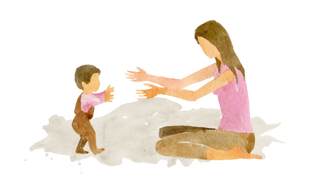 Watercolor illustration. The child makes the first independent steps towards his mother