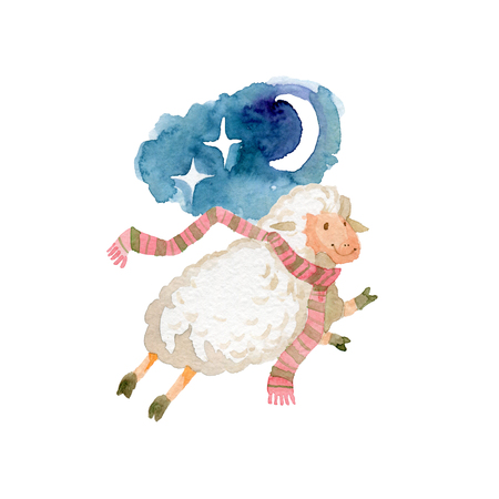 Sweet dreams and good night with cute lamb Banque d'images - 117706016