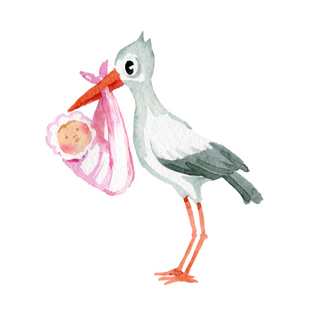 Watercolor illustration. The picture shows a crane that holds a baby wrapped in a blanket in its beak 版權商用圖片