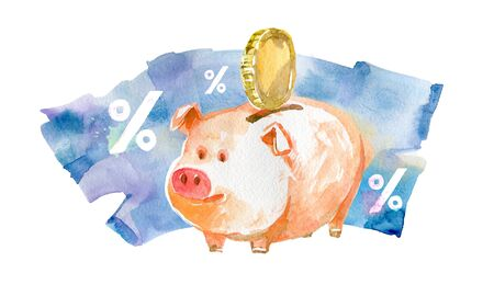 Savings from interest on Deposit. Watercolor illustration 版權商用圖片
