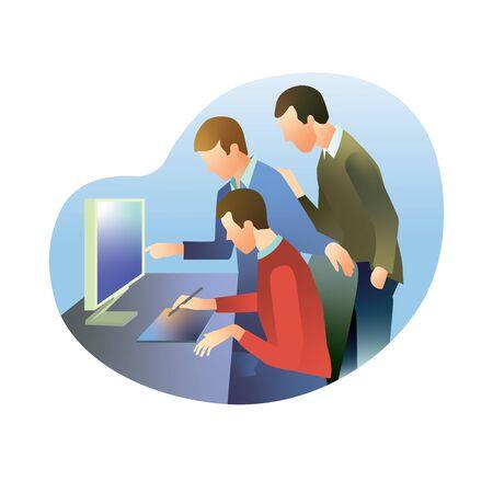 Three employees discuss work on the monitor 版權商用圖片