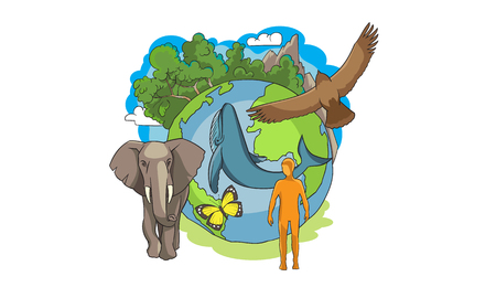 Ecology on planet Earth. Ecologists day 向量圖像