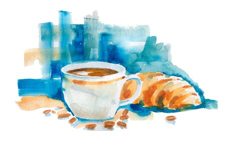 A porcelain Cup of coffee and a croissant next to it