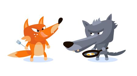 Wolf and Fox ready to eat scrambled eggs 向量圖像