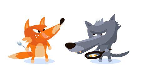 Wolf and Fox ready to eat scrambled eggs Çizim