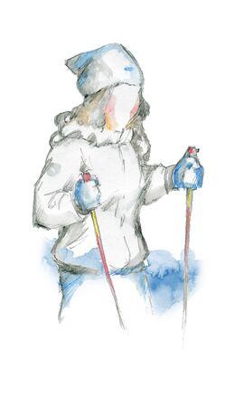 The girl in the ski outfit with ski poles Zdjęcie Seryjne