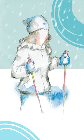 The girl in the ski outfit with ski poles. Watercolor drawing