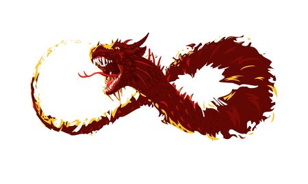Flying fire dragon. The dragons body took the form of a symbol of infinity 向量圖像