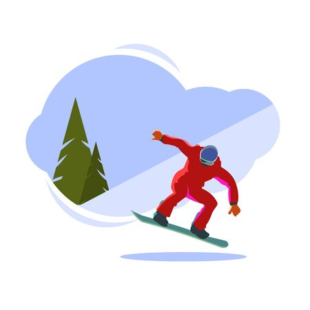 Snowboarder on the Board in the jump 向量圖像