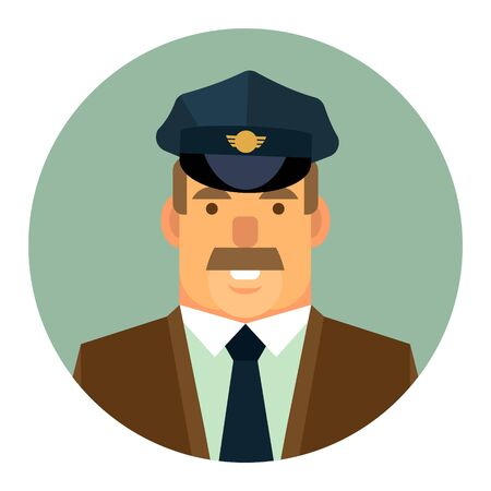 Vector icon. Flat icon with the image of a male taxi driver