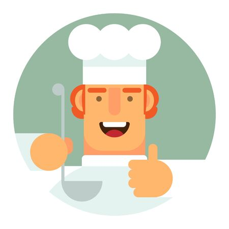 Flat icon. A man in a cook's uniform