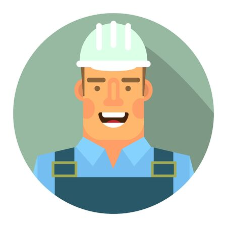 Flat icon with the image of a worker in a hard hat 向量圖像