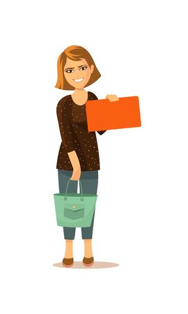 Vector illustration. The girl with the bag stands and shows the card 向量圖像