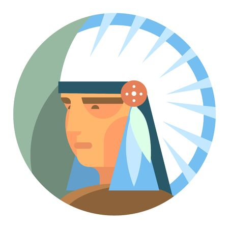 Vector icon. Round icon with the image of an Indian chief