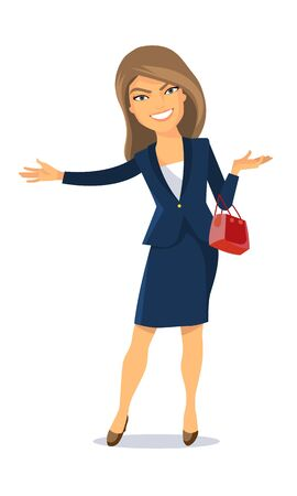 Vector illustration. A lady in a business suit with a purse. He smiles and makes a friendly gesture with his hands Illusztráció