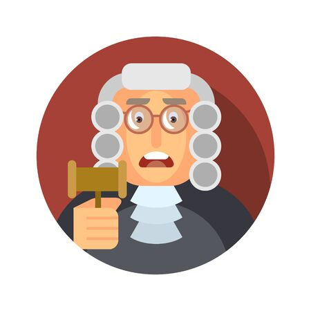 Flat icon with the image of a judge with a hammer.