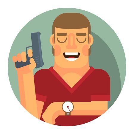L'arbitro con la pistola di partenza in una mano, guardando il cronometro.
