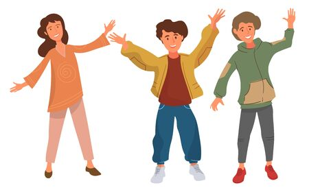 Vector image. Happy group of young people 向量圖像