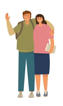 A guy and a girl are students, facing the audience. The guy waves his hand in greeting. Girl holding a book. 向量圖像