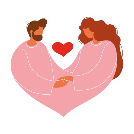 Vector illustration. Symbol. Man and woman and heart shape. 向量圖像