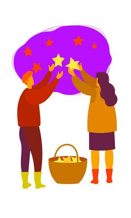 Vector illustration. A man and a woman collect stars from the sky in a basket 向量圖像