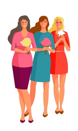 Three women stand in full height in the hands of their flowers