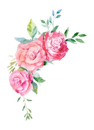 Universal composition of rose flowers made in watercolor technique 版權商用圖片