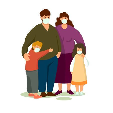 An alarmed family wearing a protective medical mask to protect the vuhan Cavid-19 virus . 向量圖像