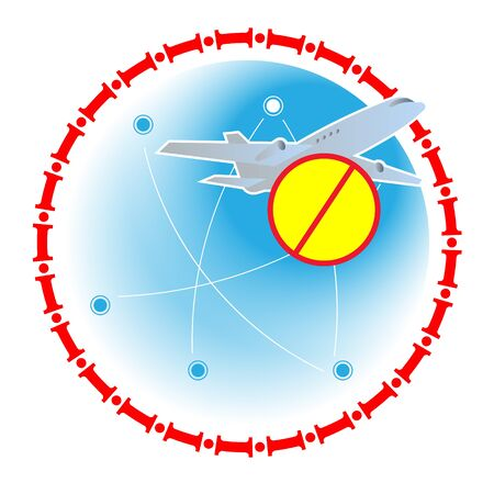 Border closures for international airlines due to an emergency 向量圖像