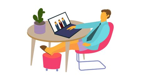 man at home leads a conference. Remote work