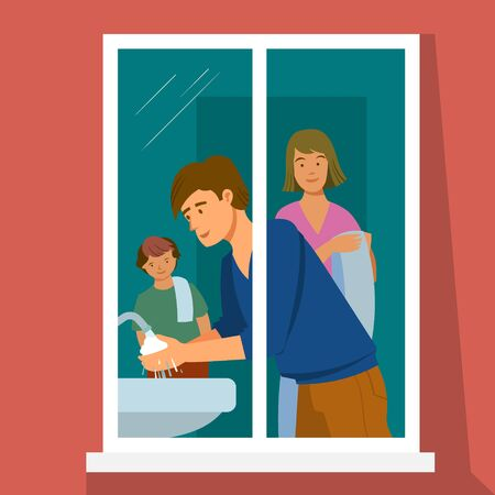 Vector illustration. The family is in home quarantine. In the window you can see my father washing his hands