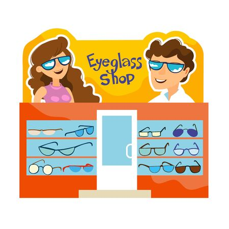 Vector illustration. Showcase of a shop selling glasses. Banner with beautiful and happy people in sunglasses