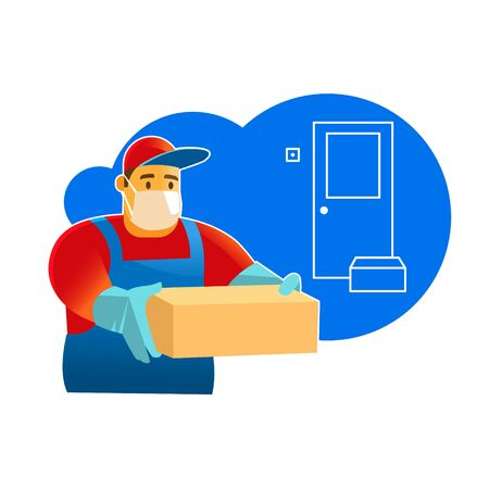 Contactless delivery. Delivery man or courier in a medical mask and gloves delivering box. 向量圖像