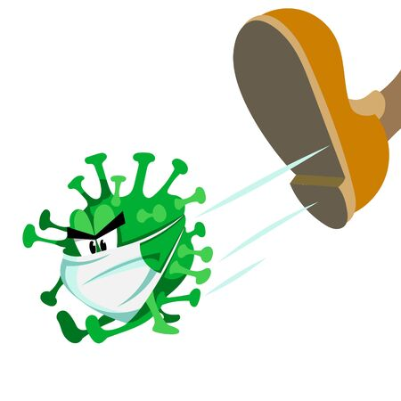 Vector illustration. The virus in the mask. The coronavirus gets a kick in the ass. The illustration is made in a cartoon style.