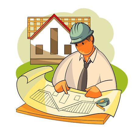 Vector illustration A construction engineer is considering a house project. Roofing of roofs 向量圖像