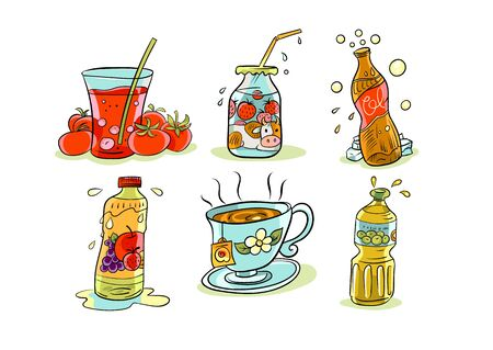 a collection of cartoon icons with images of various food products in particular beverages 向量圖像